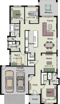 Airlie 242 Floor Plan I like the kitchen in the middle. Note plan is in metric system.