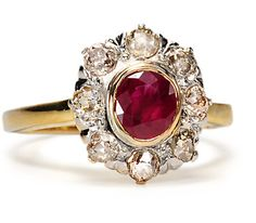 Art Deco Ruby & Diamond Cluster Ring - The Three Graces