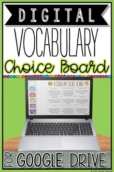 This Digital Vocabulary Activities Choice Board for Google Drive™️ contains engaging and paperless activities for students to use and practice their vocabulary words in context. Great way to differentiate for your learners! Students must have their own Google account in order to use this product. This will work on Chromebooks™️, laptops and computers.