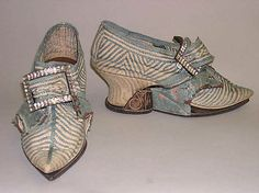 Shoes with Pattens 1740, British, Made of silk, linen, and leather ~~~~~ Pattens…