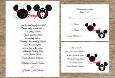 100 Personalized Fairytale Disney Mickey and Minnie Wedding Invitations Set Rsvp