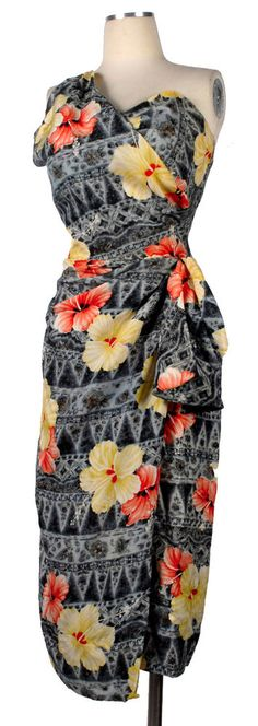 Vintage 50s KAMEHAMEHA Hawaiian Silk One Shouldered Sarong Dress Hibiscus Print #Kamehameha