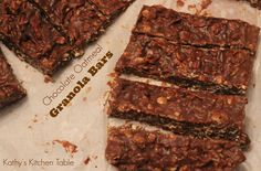 Chocolate Oatmeal Granola Bars | Kathy's Kitchen Table - These are a great no-bake snack!