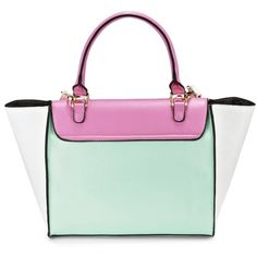 Product details Feminine winged tote bag in a color-block style.  PU.  Lining: Polyester.  Wipe clean.  Measures: (H) 26cm x (W) 45cm x (D) 12.5cm Imported.