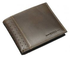 b012be5aa Guess Brown Billfold Leather Passcase Id Credit Card Case Rodeo Men's Wallet