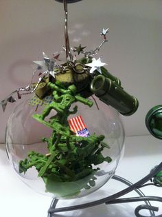 Fathers Day Military Army men ornament glass ball by WildKards, $14.99
