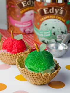 "Edy's Ice Cream Apples: An apple a day keeps the family having fun creating this perfect school night treat! Just dip Strawberry and Mint Chocolate Chip ice cream scoops into red and green sprinkles, top with pretzel rod ""stems"" and jelly slices for leaves and bite into this deliciously simple dessert!"