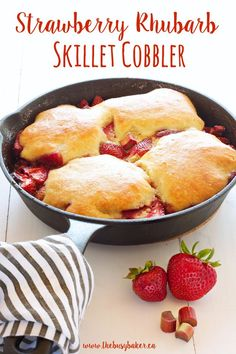 This Strawberry Rhubarb Skillet Cobbler is everybody's old-fashioned family favorite summer dessert recipe featuring fresh sweet strawberries and rhubarb! Summer Dessert Recipes, Winter Desserts, Great Desserts, Spring Recipes, Sweets Recipes, Fruit Recipes, Fennel Soup, Pie Crumble