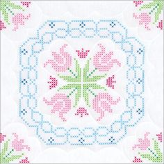 Lace Tulips Stamped Cross Stitch Quilt Blocks - x Mini Cross Stitch, Cross Stitch Borders, Counted Cross Stitch Kits, Cross Stitch Flowers, Cross Stitch Designs, Cross Stitch Patterns, Types Of Embroidery, Learn Embroidery, Embroidery Patterns