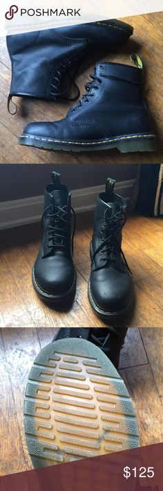 Doc Marten's + Shoe Repair Kit Doc Marten's in great condition. No major flaws. Slight creasing as expected. Small scuff on left shoe as pictured. Includes never opened shoe repair kit. Worn two or three times. Dr. Martens Shoes Boots
