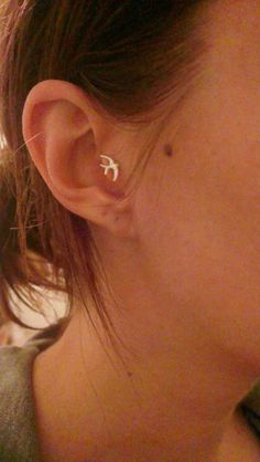 Sparrow Bird Tragus Piercing Earring by MidnightsMojo on Etsy, $7.00
