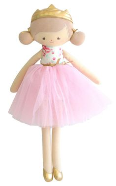 Beautiful, soft and cuddly Alimrose Princess Portia doll in Tulle & White Floral design. Ballerina Doll, Cute Pillows, Sewing Projects For Kids, Doll Stands, New Dolls, Sewing Toys, Soft Dolls, Fabric Dolls, Doll Patterns