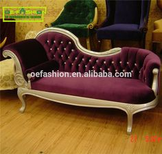 OE-FASHION Italy style European classical indoor chaise lounge chairs Violet velvet cover chaise lounge for bedroom