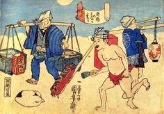 歌川国芳:天狗の鼻か参り タイトルの「鼻か参り」は画面中央の  寒行の「裸参り」に引っ掛けた駄洒落。