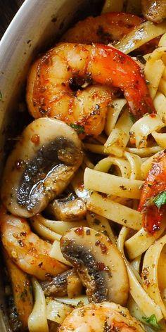 Pesto Shrimp Fettuccine in Mushroom Garlic Sauce. Easy Pasta Dinner Recipe.