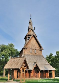 Stave church at the Hjemkomst Center in Moorhead, Minnesota (across the river from Fargo). Explore more at https://explorationvacation.net/2013/09/the-replica-hopperstad-stavkirke-in-moorhead-minnesota/