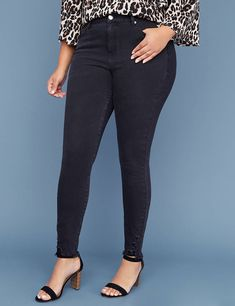 82cb75350f1 Ultimate Stretch High Rise Skinny Jean - Black with Destructed Hem