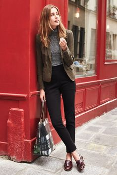 Image result for how to style ankle grazer trousers for work