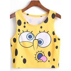 SheIn(sheinside) Yellow SpongeBob Print Crop Tank Top featuring polyvore, fashion, clothing, tops, shirts, crop top, tank tops, yellow, cropped cami, polyester shirt, beige tank top and print shirts