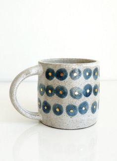 Handmade Blue & Gold Polkadot Mug | The Object Enthusiast on Etsy