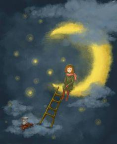 Moon Night Walkers, Dream Night, Luna Moon, Good Night Moon, Night Night, Moon Shadow, Moon Photos, Moon Illustration, Sun And Stars