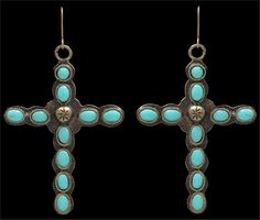LoulaBelle Womens Jewelry Earrings Cross Vintage Gold Turquoise LE7104TQ #LoulaBelle