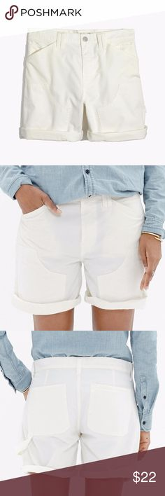 """Madewell J.Crew White Carpenter Shorts - Size 27 Madewell for J.Crew white carpenter shorts item # C0932 Like the perfect pair of cutoff carpenter pants, these rolled-hem shorts have all sorts of authentic details (front patches, a hammer loop, the works). Specially garment-dyed for that worn-in look we love.    True to size. Sit at hips. 6"""" inseam. Cotton/linen. Machine wash. Madewell Shorts"""