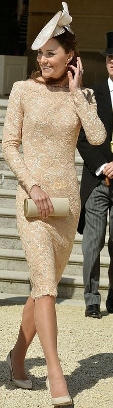 Kate Middleton in Alexander McQueen nude lace long sleeve dress and Jane Taylor bow hat. June 10, 2014