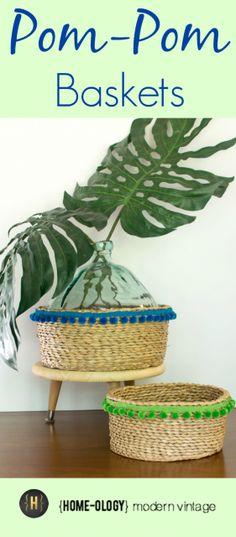 pom pom decorated baskets | {Home-ology} modern vintage