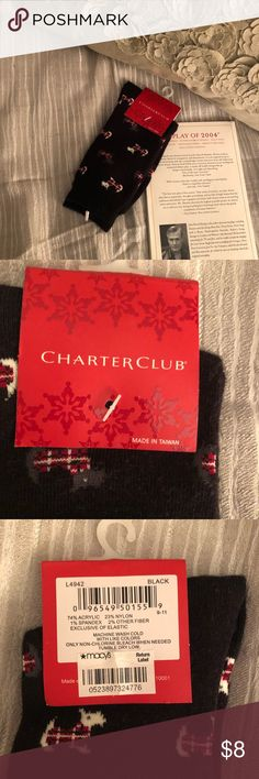 Charter Club Black Dog Patterned Socks Brand new socks. I believe they go up to your lower calf but I am not positive because they are still in their packaging. Make me an offer! Charter Club Accessories Hosiery & Socks