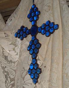 Ultramarine Periwinkle Blue Glass Cross Russian or by artbrawl