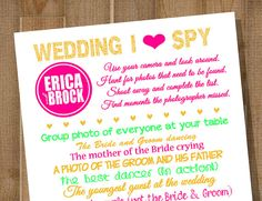 Wedding I Spy  PRINTABLE Wedding Reception by BlueMoonDesigns. Use your photo-sharing app ourphotoopp.com to have guests collect these photos and get sent instantly to your online album.