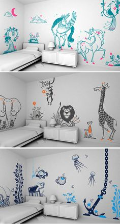 French com pany e-glue, makes a huge vari ety of whim si cal, car toony wall decals.