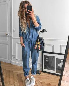 Meleponym x Reiko Style Casual, My Style, Jeans Bleu, Denim Jumpsuit, Bleu Marine, Mode Inspiration, Capsule Wardrobe, Mom Jeans, Harem Pants