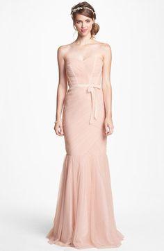 Monique Lhuillier Bridesmaids Strapless Tulle Trumpet Dress  6210a5915b87