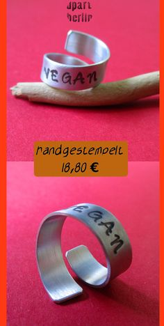 """Spiral ring ring in aluminum """"VEGAN"""" engraving hand stamped personalized wish text gift boyfriend friend farewell lucky charm Hand Gestempelt, Vegan, Etsy, Rings, Ideas For Gifts, Guy Gifts, Gifts For Women, Personalized Rings, Personalised Jewellery"""