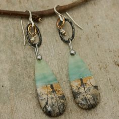 Chohua Jasper,Amazonite earrings with oxidized silver loops and sterling silver hooks