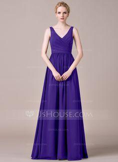 [R$ 380.74] Vestidos princesa/ Formato A Decote V Longos De chiffon Vestido de madrinha com Pregueado (007053518)