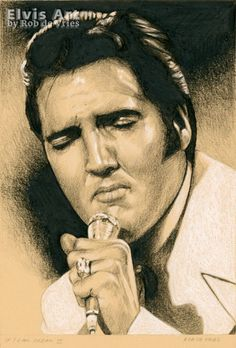Last drawing for May,  Elvis in Charcoal #148, If I can dream II. Charcoal, ink and white chalk on colored paper. 21 x 15 cm. For sale. www.elvis-art.com