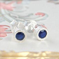 Midnight Blue Sapphire Birthstone Silver Stud Earrings