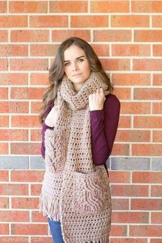 Oversized Scarf with cabled pockets - Free Crochet Pattern - includes video  tutorial on the cable stitch. Even a scarf! 14562487e1e