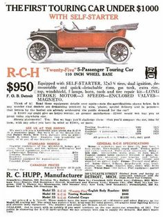 R-C-H Advertisement, 1912. Enlarge to see numerous specifications and features.