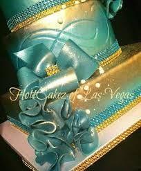 Tiffany Blue and Gold wedding cake