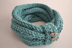 Handmade finger knitted infinity loop scarf