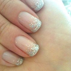 Light pink with gradient glitter nails