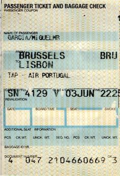 Voo: Bruxelas -> Lisboa , Domingo, 3 de Junho de 2001.