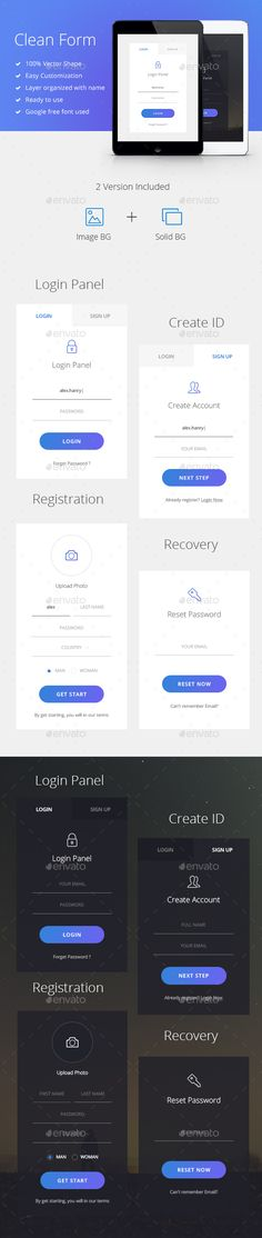 Clean Forms by Apex_theme Features: Corporate and clean design Fully layered with layer name 72 DPI RGB Color ModeEasy to customize Easy to edit Login Page Design, Web Design, Graphic Design, Ui Website, Website Layout, Flat Web, Web Forms, Information Graphics, Mobile Design