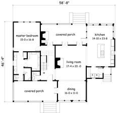 Fabulous floor plan!  But I'd turn one of the covered porches into an art studio.