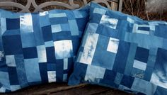 Indigo Patchwork Pillow  Cover II by MilkweedQuilts on Etsy