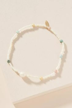 Joelle Anklet by Serefina in White Size: All, Jewelry at Anthropologie Seed Bead Jewelry, Cute Jewelry, Diy Jewelry, Beaded Jewelry, Jewelery, Handmade Jewelry, Jewelry Design, Jewelry Making, Seed Beads